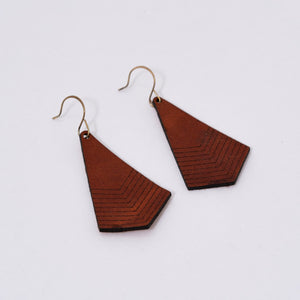 Handmade Leather Chevron Earrings