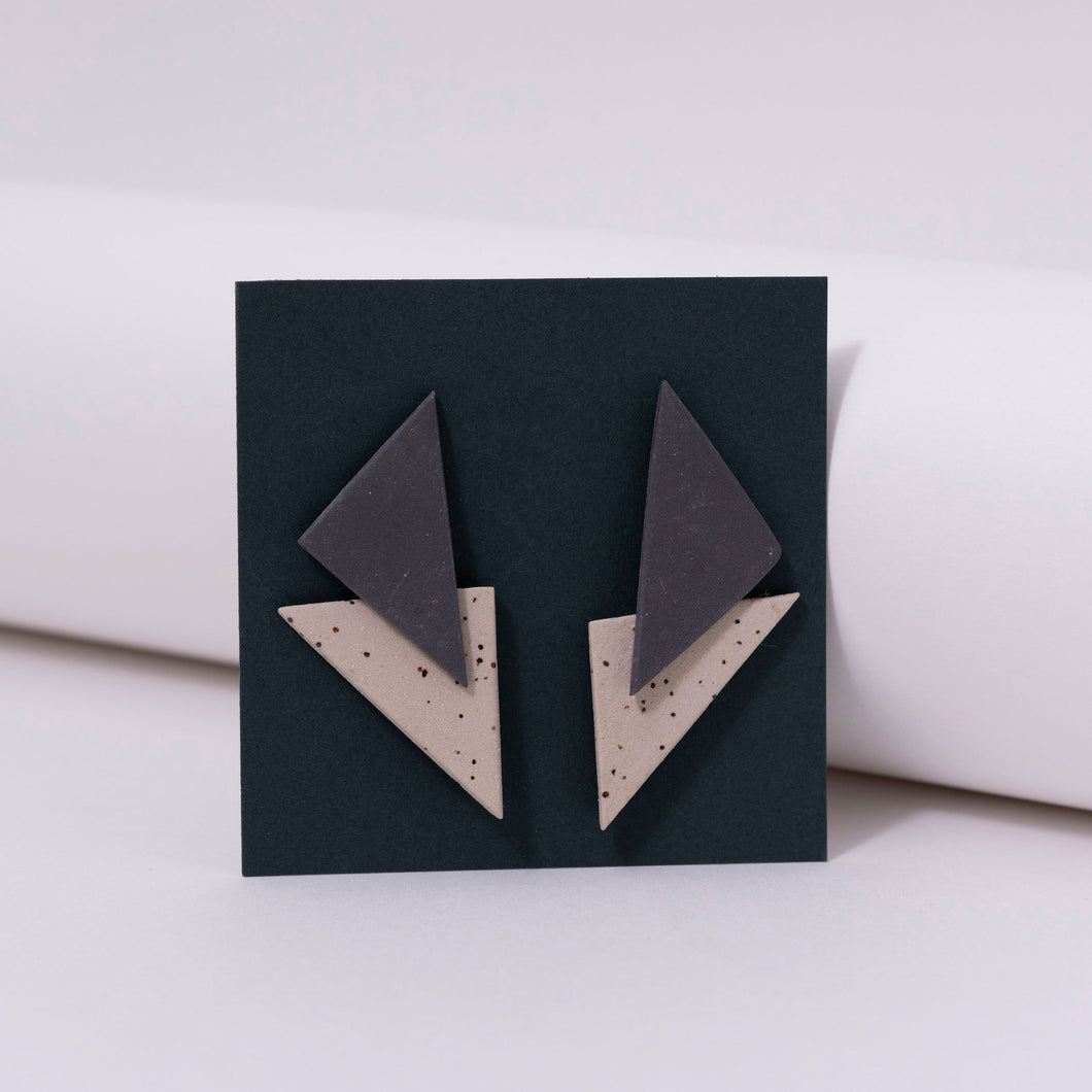 Ceramic & Triangle Earrings