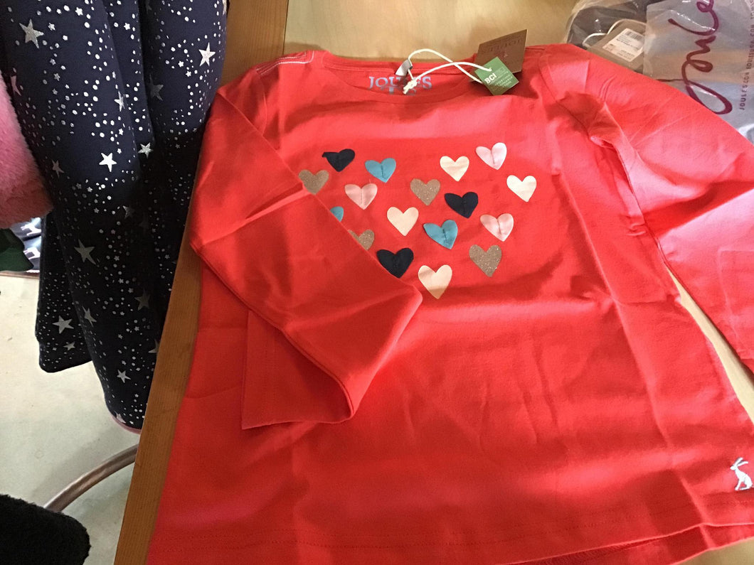 7-8 Top Long Sleeve Red Hearts