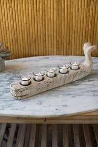 Candle Holder Carved Wooden Whale