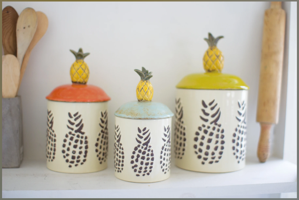 Ceramic Pinneapple Canisters