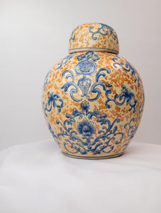 Yellow and Blue porcelain ginger jar