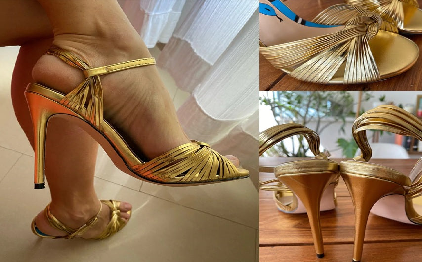 Crawford Knotted Metallic Leather Sandals Gold sandals in three positions