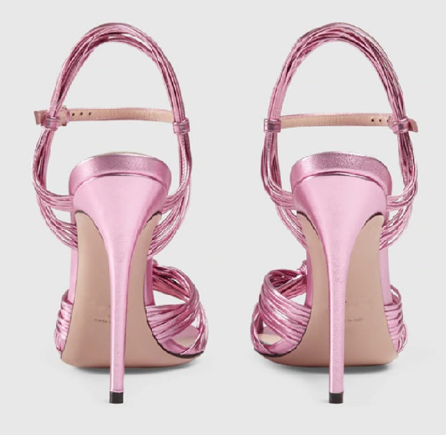 Crawford Knotted Metallic Leather Sandals pink back view