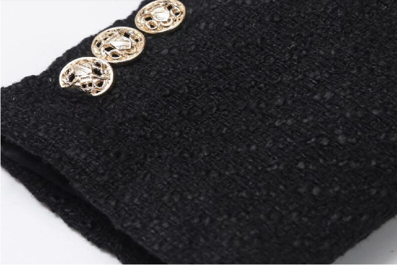 Double Breasted Cropped Tweed Blazer cuff with three gold buttons