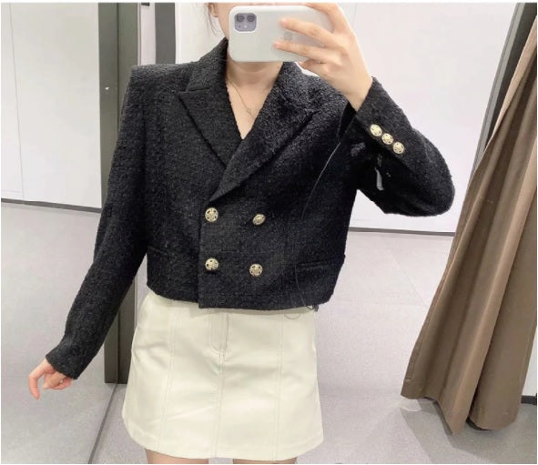 Double Breasted Cropped Tweed Blazer with model taking selfie