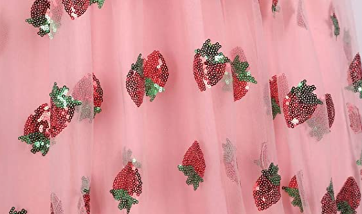 Strawberry Midi Ruffle Dress mesh with strawberry printa
