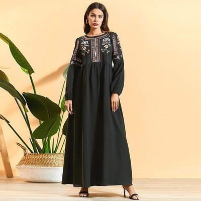bohochicclothing Black Maxi Dress Ethnic Floral Embroidery boho  chic clothing