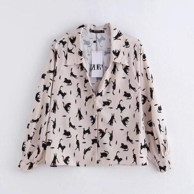 bohochicclothing Blouses & Shirts CATS PRINT WOMEN'S BLOUSE boho  chic clothing