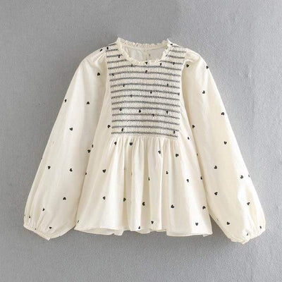 bohochicclothing Blouses & Shirts ELEGANT HEART PRINT BLOUSE boho  chic clothing