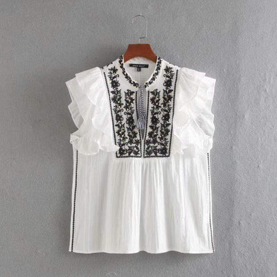 bohochicclothing Blouses & Shirts ELEGANT STAND COLLAR WHITE BLOUSE boho  chic clothing