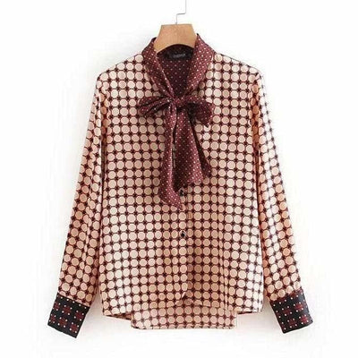 Women Long Sleeve Geometric Blouse Shirt