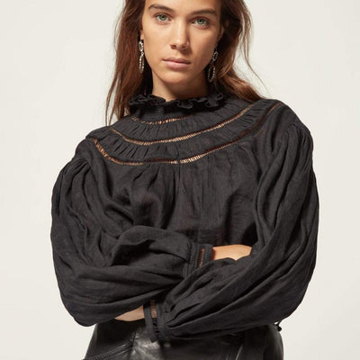 bohochicclothing Blouses & Shirts STITCHING LINEN BLOUSE boho  chic clothing