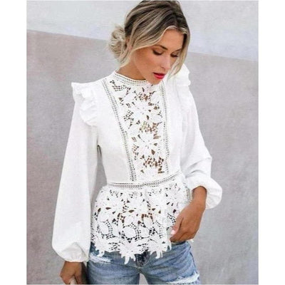 bohochicclothing Boho Floral Lace White Top boho  chic clothing