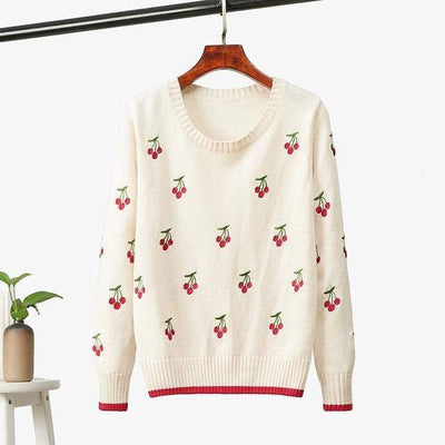 bohochicclothing Cherry Embroidered Sweater boho  chic clothing