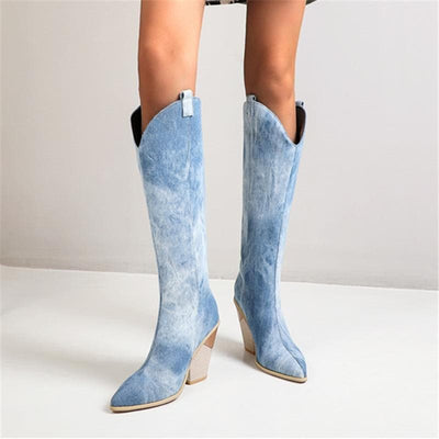 bohochicclothing CHUNKY HIGH KNEE BOOTS boho  chic clothing