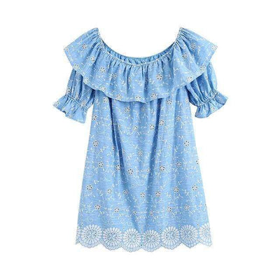 Cutwork Ruffled Dress - Boho Chic Clothing
