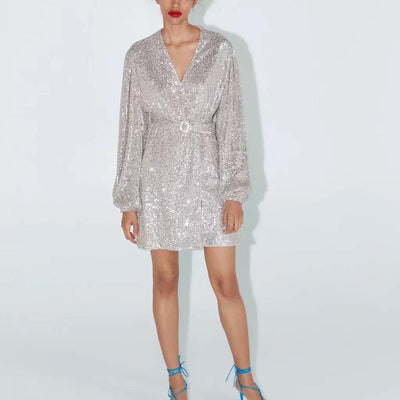 bohochicclothing dress SILVER SEQUIN MINI DRESS boho  chic clothing