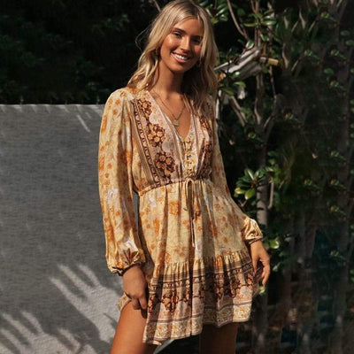 bohochicclothing Dresses AUTUMN RUFFLE V-NECK DRESS boho  chic clothing