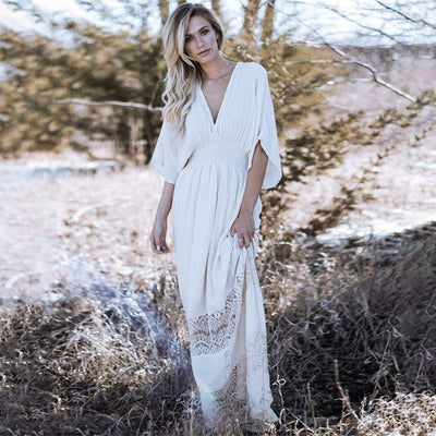 bohochicclothing Dresses BOHO HALF SLEEVE MAXI DRESS boho  chic clothing