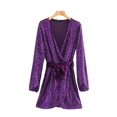 Women Sequin V-Neck Mini Dress  in a hanger front view