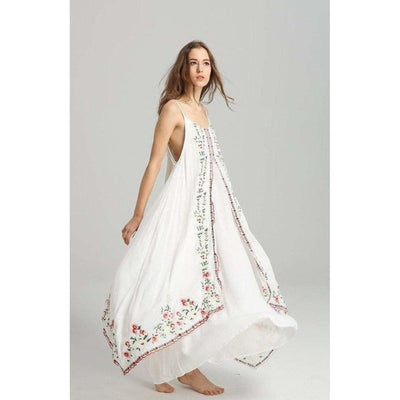 bohochicclothing Dresses FLORAL EMBROIDERED MAXI DRESS boho  chic clothing