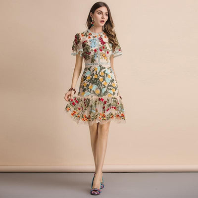 Flare Sleeve Embroidery Mesh Dress - BohoChic Clothing & Accessories