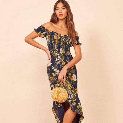 bohochicclothing Dresses FLORAL PRINTED MIDI DRESS boho  chic clothing