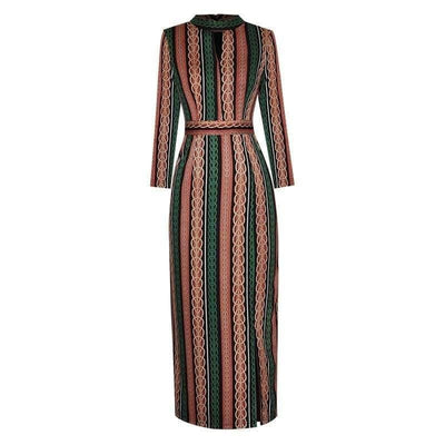 bohochicclothing Dresses FOLK STRIPED SPLIT PENCIL DRESSES boho  chic clothing