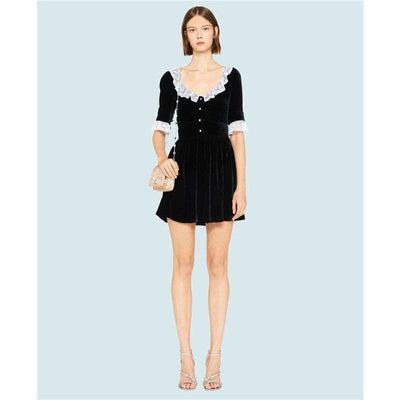 Temperament Black Velvet Dress with lace front view