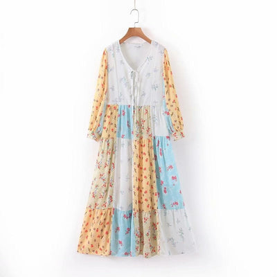 Patchwork Floral Dress - Boho Chic Clothing
