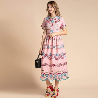 Pink Embroidery Dress - Boho Chic Clothing