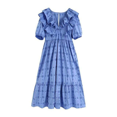 bohochicclothing Dresses PUFF SLEEVE V-NECK RUFFLE DRESS boho  chic clothing
