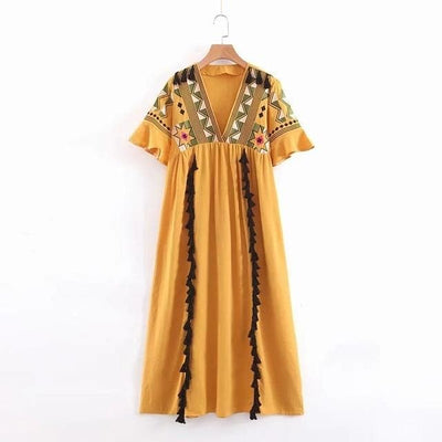 bohochicclothing Dresses TASSEL LINE LONG MAXI DRESS boho  chic clothing