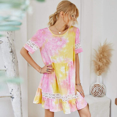 bohochicclothing Dresses TIE DYE PATCHWORK LACE DRESS boho  chic clothing