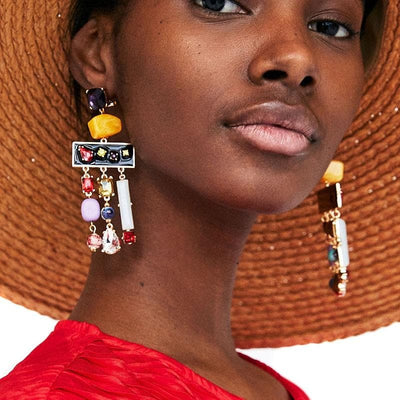 Crystal Tassel Earrings - Boho Chic Clothing