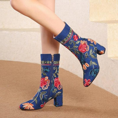 bohochicclothing EMBROIDERED VELVET WINTER BOOTS boho  chic clothing