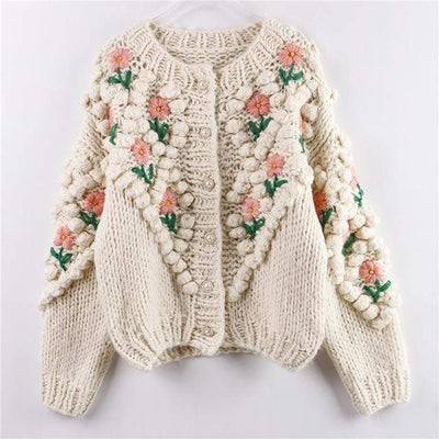 bohochicclothing H.SA 2020 New Women Winter Handmade Sweater and Cardigans Floral Embroidery Hollow Out Chic Knit Jacket Pearl Beading Cardigans boho  chic clothing