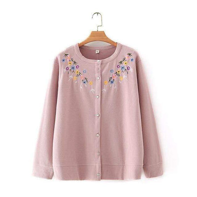 bohochicclothing Harajuku Flower Embroidered Cardigan boho  chic clothing