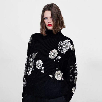 Women Sequined Flower Knitted Sweater