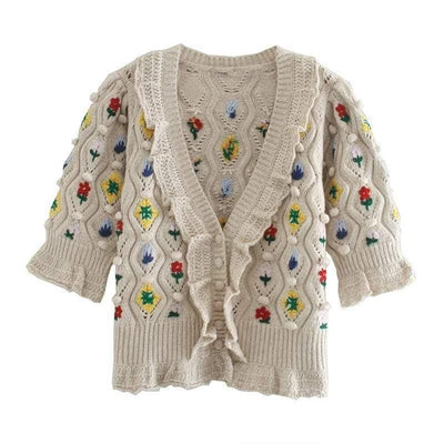 bohochicclothing Jackets BEIGE KNITTED VINTAGE SWEATER boho  chic clothing