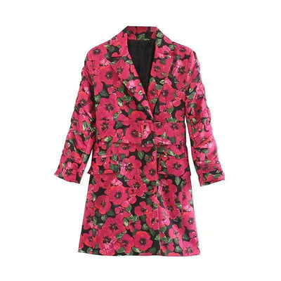 bohochicclothing Jackets FLORAL NOTCHED COLLAR COAT boho  chic clothing
