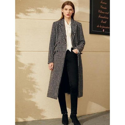 bohochicclothing Jackets LAPEL PLAID CALF-LENGTH COAT boho  chic clothing
