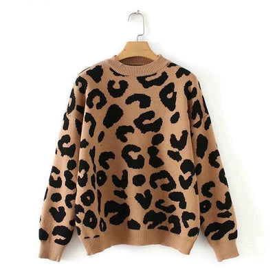 bohochicclothing Jackets LEOPARD KNITTED SWEATER boho  chic clothing