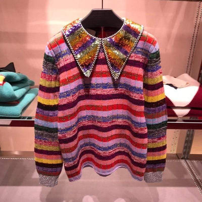 bohochicclothing Jackets LUXURY RAINBOW SEQUINS PULLOVER boho  chic clothing