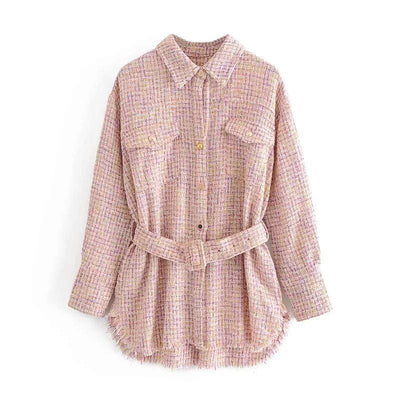 bohochicclothing Jackets POCKET TASSEL PLAID TWEED JACKET boho  chic clothing