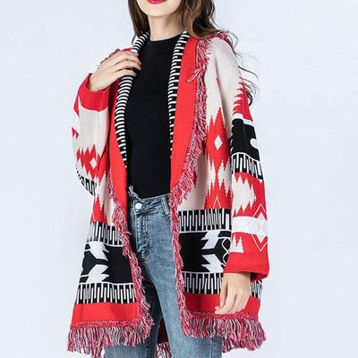 bohochicclothing Jackets RETRO TASSEL CARDIGAN boho  chic clothing