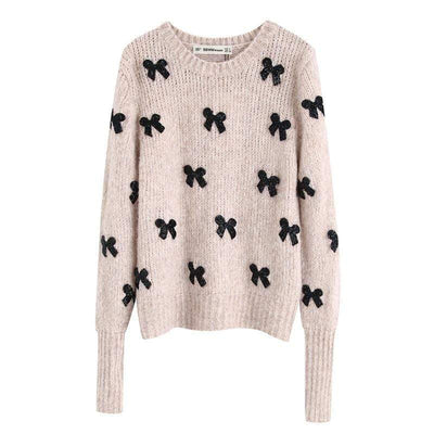 bohochicclothing Jackets SOLID BOW  ELEGANT SWEATER boho  chic clothing