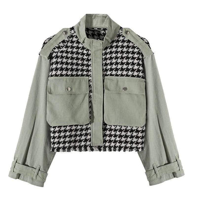bohochicclothing Jackets SPLICED BOMBER JACKET boho  chic clothing