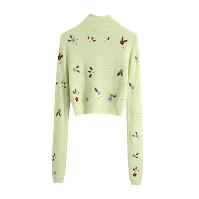 bohochicclothing Jackets TURTLE EMBROIDERY ELEGANT SWEATER boho  chic clothing